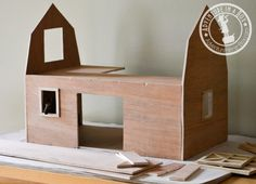 Handmade Toy Wooden Barn: under construction shot
