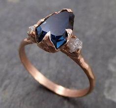 Teilweise facettierten Saphir Diamant 14k rose Gold