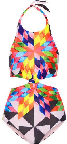 Mara Hoffman - Cutout Printed Halterneck Swimsuit - Baby pink