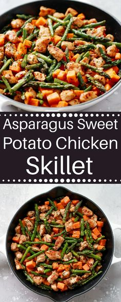 This Asparagus Sweet Potato Chicken Skillet recipe is a delicious healthy and ea. - This Asparagus Sweet Potato Chicken Skillet recipe is a delicious healthy and easy-to-make meal tha - Sweet Potato Recipes Healthy, Healthy Pasta Recipes, Healthy Pastas, Paleo Recipes, Dinner Recipes, Easy Healthy Chicken Recipes, Kid Recipes, Paleo Meals, Budget Recipes