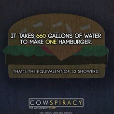 "Let that sink in. Whether you believe in climate change or not, you can't deny the fact that millions of people are starving and unable to drink clean water. If you care about the planet please pay the small fee and watch ""Cowspiracy"" right now on your laptop or home computer. IT IS BY FAR THE BEST DOCUMENTARY I HAVE EVER SEEN. #cowspiracy #careaboutourplanet #itsuptoustosavetheworld"