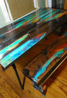 Abstract art on distressed wood. Industrial pipe legs, farmhouse, rustic, look of reclaimed wood. cabin furniture - Home Decor Woood Cabin Furniture, Funky Furniture, Refurbished Furniture, Furniture Makeover, Painted Furniture, Furniture Buyers, Business Furniture, Furniture Stores, Rustic Furniture