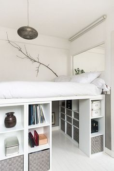 How to DIY a king size loft bed? So I was thinking of getting a king size … Help! How to DIY a king size loft bed? So I was thinking of getting a king size loft bed with space for a desk underneath. However, the biggest IKEA loft bed is only a … Room Ideas Bedroom, Small Room Bedroom, Bedroom Furniture, Tiny Bedrooms, Furniture Storage, Ideas For Small Bedrooms, Small Bedroom Hacks, Very Small Bedroom, Furniture For Small Bedrooms