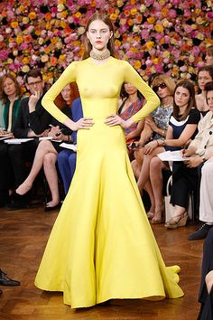 Stunning Dior Long-sleeve yellow gown F/W 2012-13