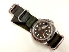 Rolex Explorer II 216570 on Green Leather Nato Rolex Explorer Ii, Nato Strap, Luxury Watches For Men, Green Leather, Rolex Watches, Gears, Classy, Accessories, Black