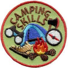 Camping, Skill, Compass, Axe, Tent, Campfire, Boot, Hike, Hiking, Patch, Embroidered Patch, Merit Badge, Badge, Emblem, Iron On, Iron-On, Crest, Lapel Pin, Insignia, Girl Scouts, Girl Guides