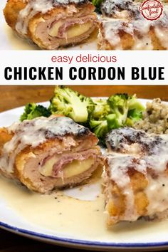 I've been making this Chicken Cordon Bleu for years, and I'm convinced it truly is the perfect dinner. It's great for a special occasion (cause it's kind of fancy), but it's easy enough to have any night of the week. #easyrecipes #onthetable #dinner #chickenrecipes #cordonbluerecipes This Homemade Dish Is Crispy And Delicious, Filled With Cheese And Ham. It Is An easy Version Of The Famous French Meal That Is Ready In About One Hour. . Good Fried Chicken, Yum Yum Chicken, Slow Cooker Lasagna, Slow Cooker Chicken, Baked Chicken Cordon Bleu, Slow Cooker Sloppy Joes, Slow Cooker Barbacoa, Easy Meals, Easy Recipes