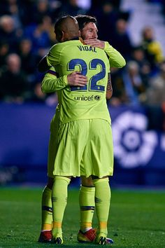 Leo Messi of FC Barcelona celebrates his side's third goal with his. Messi 10, Lionel Messi, Fc Barcelona, Valencia Spain, Chile, Soccer, Football, Club, Celebrities