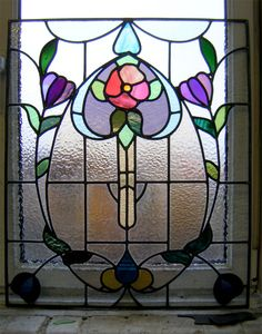 Arts and Crafts styled stained glass flower Glasgow Modern Stained Glass, Stained Glass Door, Stained Glass Flowers, Stained Glass Designs, Stained Glass Panels, Stained Glass Projects, Stained Glass Patterns, Leaded Glass, Mosaic Glass