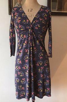 3916d639d82 UK SIZE 10 WOMENS FAT FACE NAVY BLUE FLORAL STRETCH DRESS