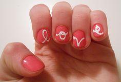 DIY Nail Design: Love script