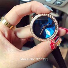 6 Colors New Style Quality Women Watches Luxury Rhinestone Wristwatch Lady Crystal Dress Watch Female Genuine Leather Band Watch