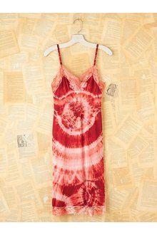 Free People Vintage Red Tie Dyed Slip Dress - Lyst