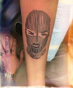 Woman in balaclava tattoo Dope Tattoos, Pretty Tattoos, Mini Tattoos, Unique Tattoos, Leg Tattoos, Body Art Tattoos, Small Tattoos, Sleeve Tattoos, Tribal Foot Tattoos