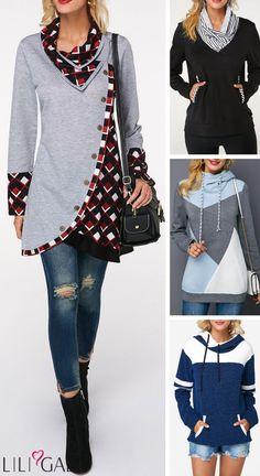Hot Sale Sweatshirts And Hoodies 2018 - - Hot Sale Sweatshirts And Hoodies Sewing Clothes, Diy Clothes, Clothes For Women, Look Fashion, Diy Fashion, Fashion Outfits, Kleidung Design, Shirt Refashion, Shirt Sale