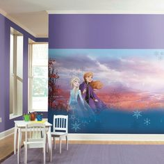 Frozen Sisters Peel and Stick Mural - Entertainment Earth Disney Frozen Bedroom, Disney Dorm, Disney Frozen 2, Disney S, Frozen 2 Wallpaper, Peel And Stick Wallpaper, Frozen Sisters, Removable Wall Murals, Mickey And Friends