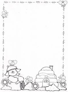 paper border drawing of teddy bear and food items Dj