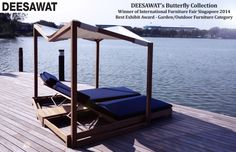 """The """"Butterfly Collection"""" was uniquely designed by Deesawat's Thai designer to make relaxation in the sun and outdoor more desirable.   This furniture served as the winning piece of IFFS 2014's Best Exhibit Award – Garden/Outdoor Furniture Category."""