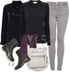 MICHAEL Michael Kors black leather top, $215 / Oasis blue coat, $60 / Topshop petite jeans / Madewell boots / Rebecca Minkoff white purse / Silver earrings / Silver jewelry, $8.56 / Lord Taylor leather glove