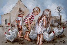 Art Painting by Maria Magdalena Oosthuizen includes Etenstyd - Luch, this example of Contemporary Art has inspired this exceptionally talented artist. View other Paintings by Maria Magdalena Oosthuizen in our Online Art Gallery. Baby Painting, Fabric Painting, Angel Pictures, Kid Pictures, South African Artists, Chickens And Roosters, Paintings I Love, Love Wallpaper, Affordable Art