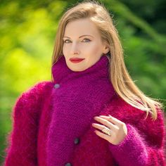 4f97e709fb1 Designer red purple shawl collar mohair jacket. Hand Knitted SweatersWomen s  ...
