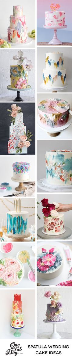 We take a look at one of the hottest cake trends right now and some of the artistic cake designers creating Spatula Painted Wedding Cake masterpieces. Painted Wedding Cake, Diy Wedding Cake, Elegant Wedding Cakes, Beautiful Wedding Cakes, Wedding Desserts, Unique Weddings, Beautiful Cakes, Floral Wedding, Fall Wedding