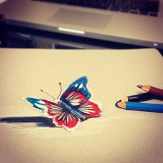 30. Lucky978 – Butterfly - This 3D drawing of a butterfly shows the technique can be done in color, too.