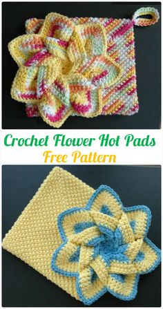 Crochet Flowers Patterns Crochet Flower Hot Pads Free Pattern - Crochet Pot Holder Hotpad Free Patterns - Crochet Pot Holder Hotpad Free Patterns: A collection of crochet potholders and hotpads free patterns, square, circle, flower and animal. Crochet Potholder Patterns, Crochet Coaster Pattern, Crochet Flower Patterns, Crochet Flowers, Crochet Stitches, Knitting Patterns, Pattern Flower, Cloth Patterns, Crochet Doilies
