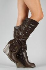 Karen Buckle Slouchy Knee High Wedge Boot $38.90