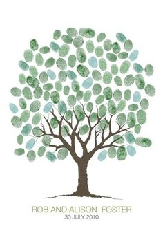 printable guestbook wedding fingerprint tree from 'i do' it yourself
