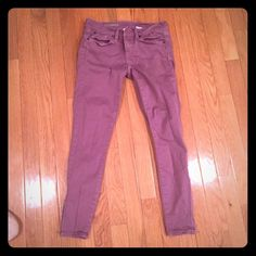 Maroon J.Crew Toothpick Skinny Jeans These are a re-posh because even though they're labeled a 24, they've been shrunk and now fit like a 23. Other than that, they're SUPER cute and have zipper detail at the bottom. J. Crew Jeans Skinny
