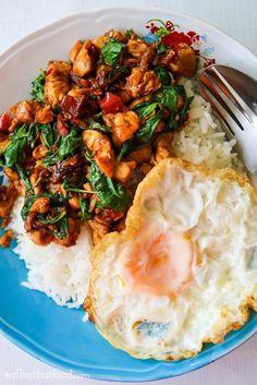 Authentic Thai basil chicken recipe (pad kra pao gai ผัดกระเพราไก่)