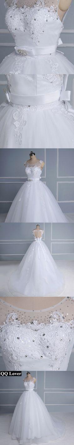 QQ Lover 2018 New Backless Bow Wedding Dress Custom-made Plus Size Bridal Wedding Gown Vestido De Noiva