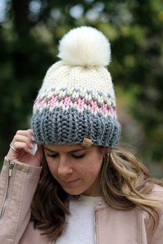 Knit Crochet, Crochet Hats, Fair Isle Knitting, Knit Beanie, Headbands, Knitted Hats, Knitting Patterns, Winter Hats, Peony
