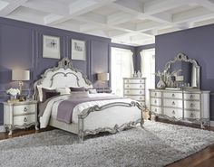 White And Silver Bedroom Traditional Antique Furniture