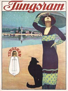 RARE Original 1913 TUNGSRAM Light Bulb Art Deco Poster. Part of our November 3, 2013 poster auction.