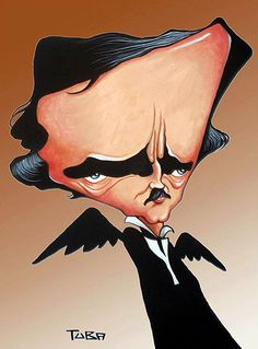 Edgar Allan Poe - illustration of Tuba..FOLLOW THIS BOARD FOR GREAT CARICATURES OR ANY OF OUR OTHER CARICATURE BOARDS. WE HAVE A FEW SEPERATED BY THINGS LIKE ACTORS, MUSICIANS, POLITICS. SPORTS AND MORE...CHECK 'EM OUT!!