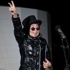 Yoko Ono, who lit the peace tower in memory of John Lennon, her late husband