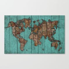 Wood Map, vintage world