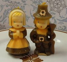Vintage Gurley Novelty Thanksgiving Candles Pilgrims. Mom had these on the table every Thanksgiving.