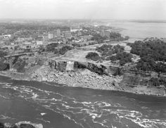 Dry Niagara Falls (American side) in 1969. River was diverted due to engineering project.