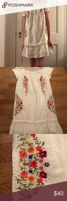 Anthropologie embroidered off the shoulder dress super sweet, easy going dress. Worn only a few times Anthropologie Dresses Mini