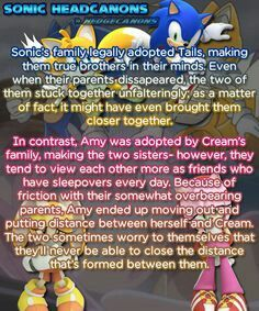 Hmmm ...... So cream was like a baby when her mom adopted  amy............and Sonic was like 10 and tails was like 4?