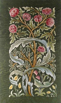 "highvictoriana: "" A (William) Morris & Co 'Oak' silk panel embroidered by…"