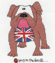 British Bulldog - Bang On The Door Cross Stitch Kit from Cotton Crosses