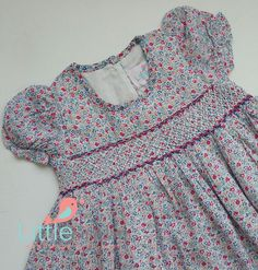 Beautiful floral hand smocked baby dress : size 6  by LittleSmock