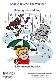 Is it raining cats and dogs? Discover how to use weather idioms with our illustration! Learn to speak English like a native with Kaplan International Colleges! English Language Arts, English Words, English Grammar, English Study, Learn English, English Tips, Confusing Words, Prepositional Phrases, Conversational English