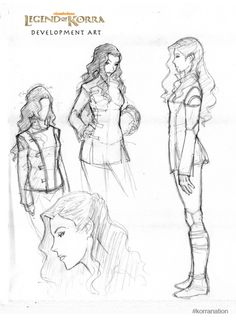 An early sketch design for Asami Sato - a young non-bender and daughter to a wealthy industrialist.
