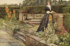 """sing-a-song-o-sixpence:  Eleanor Fortescue-Brickdale """"Garden Fancies: The Flower`s Name"""" 1909 watercolor by Plum leaves on Flickr."""