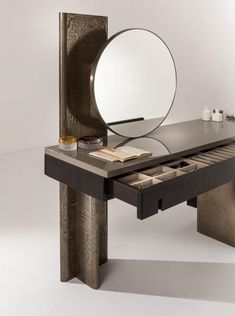 Outfit Vanity - Luxury vanity console table with round mirror Table Furniture, Painted Furniture, Modern Furniture, Furniture Design, Plywood Furniture, Chair Design, Design Design, Dressing Table Design, Bedroom Bed Design